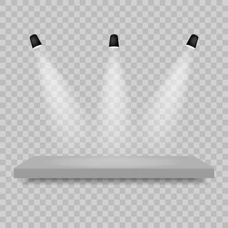 Spotlights shine on the platform. Vector illustration