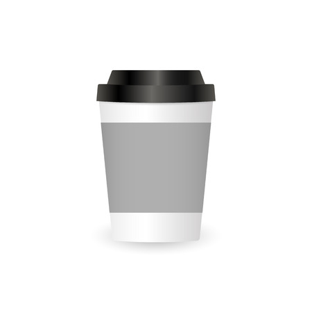 Mock up paper cup isolated on white background
