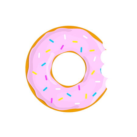 Sweet donut cacke isolated on white back Иллюстрация