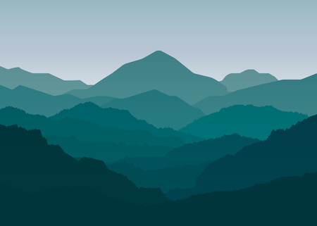 Landscape mountains nature background. Silhouette concept. vector