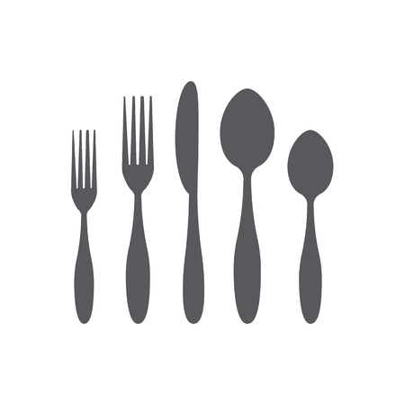 Cutlery icons set. Black and white colors 写真素材 - 111523257