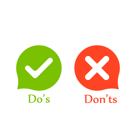 Do's don'ts signs in speech bubbles. Vector