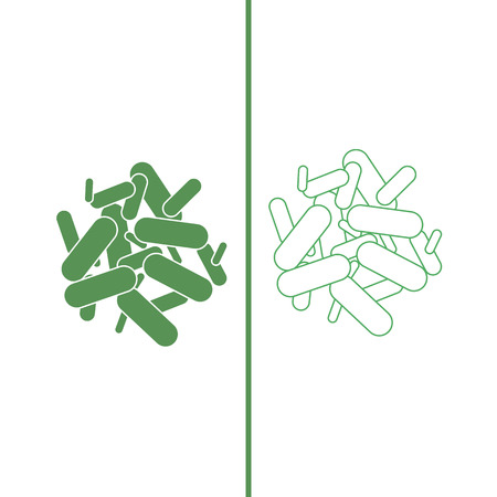 Probiotics icon back. green color. Vector illustration 向量圖像