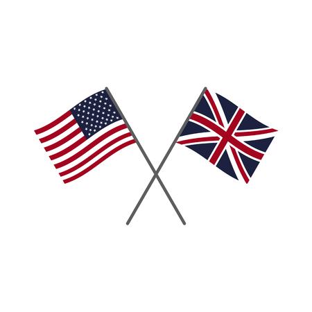 Drapeaux des États-Unis et du Royaume-Uni. Ensemble d'icônes de drapeau
