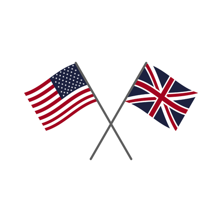 USA and UK flags. Flag icons set