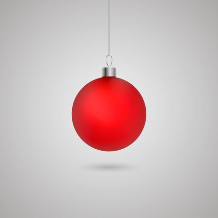 Red Christmas ball with shadow. Vector eps10