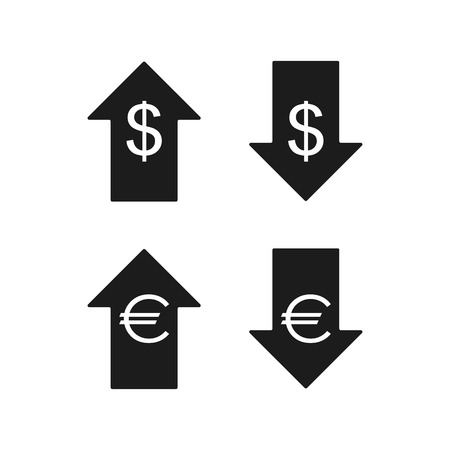 Euro and dollar icons. Up and down. Vector icons