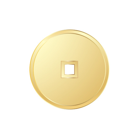Realistic chinese gold coin on white background