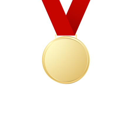 Gold medal with ribbon on white background Zdjęcie Seryjne - 127309656