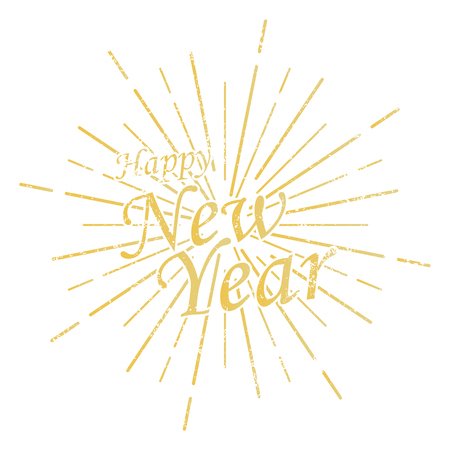 Happy New Year inscription with burst. Vector