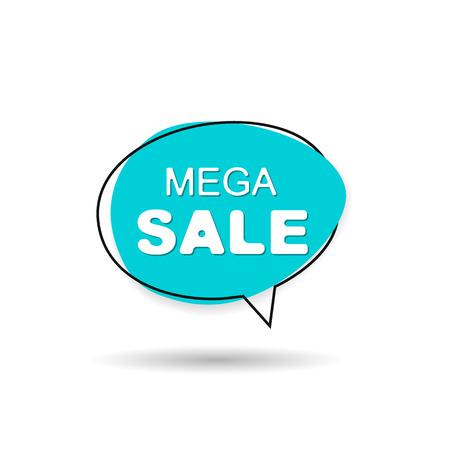 Mega sale speech bubble icon sign. Vector