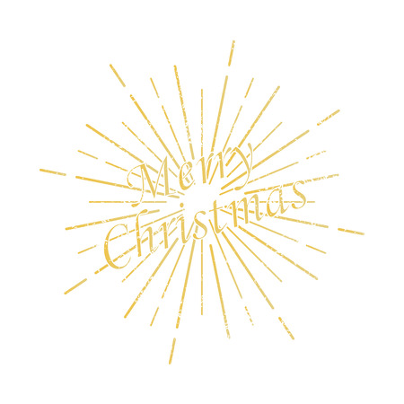 Merry Christmas inscription sunburst background. Vector eps10 Иллюстрация