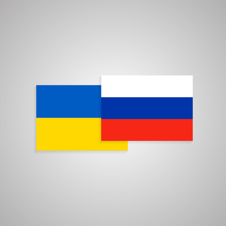 Ukraine and Russia flags. Vector eps10 illustration Stock Illustratie