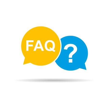 FAQ sign in speech bubble with shadow. Vector Çizim