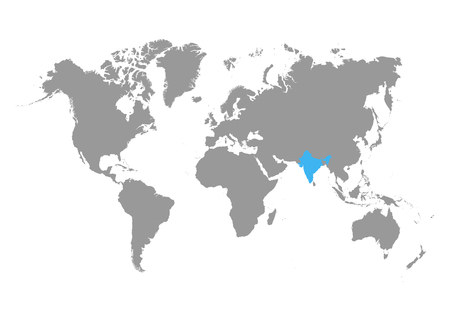 The map of India is highlighted in blue on the world map.