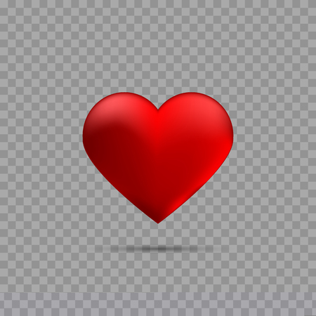 Red heart on transparent background with shadow Ilustracja