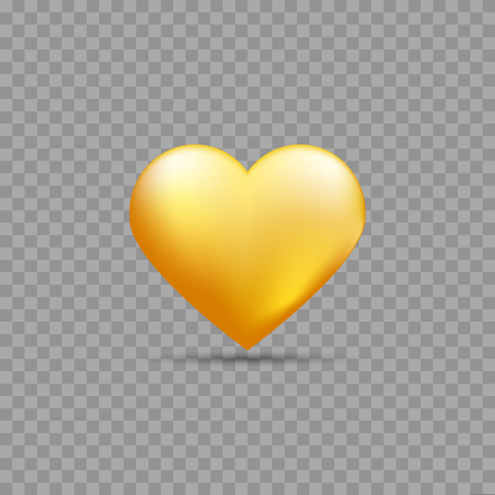 Gold heart on transparent background with shadow