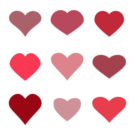 Hearts icon set. Valentine concept icons. Vector