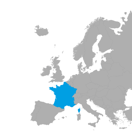The map of France is highlighted in blue on the map of Europe. Vector