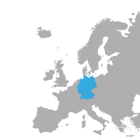 The map of Germany is highlighted in blue on the map of Europe. Vector