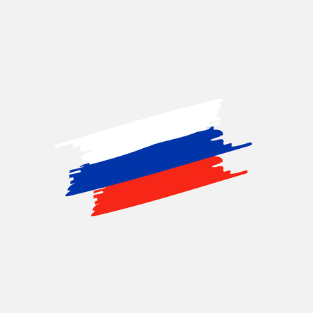 Brush Russia flag on grey back. Vector Ilustracja
