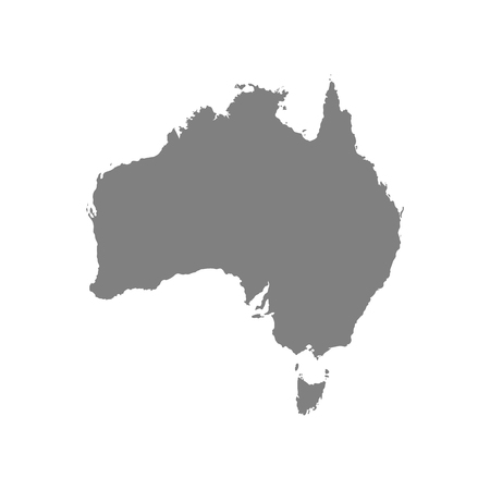 Australia vector map grey color on white back