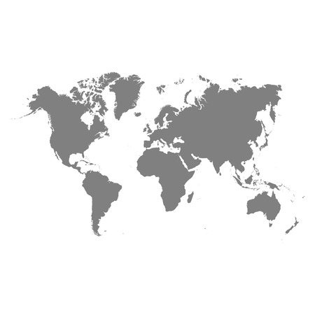Vector world map isolated on white back