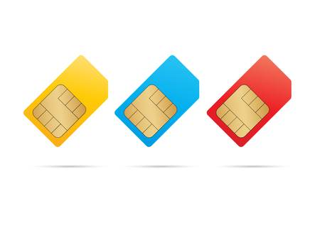 Sim card icon set with shadows. Vector eps10 Ilustracja