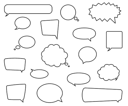 Speech bubbles set flat style. Vector eps10