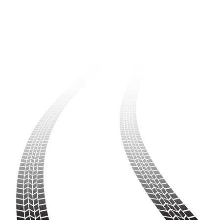 Tire track background isolated on white background Ilustracja