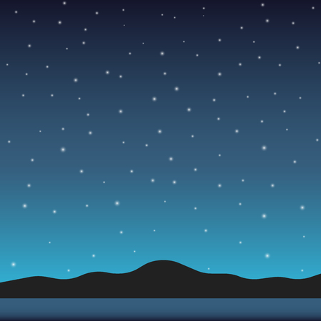 Night sky background. Night in mountains. Vector