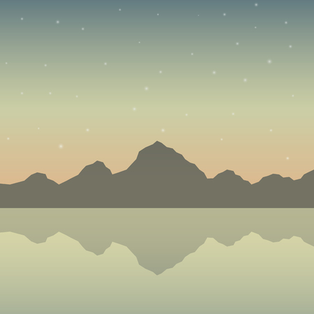 Mountains with river background. Nature vector illustration