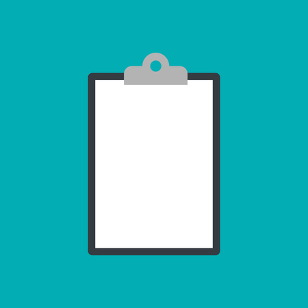 Clipboard icon isolated on blue background. Vector Standard-Bild - 124254646