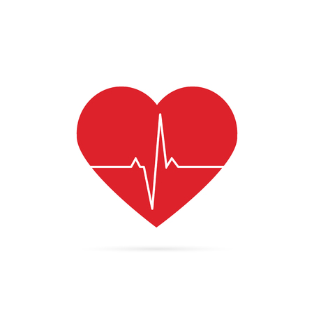 Heartbeat line background icon. Medical illustration. Vector