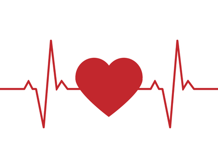Heartbeat line background icon. Medical illustration. Vector Standard-Bild - 124254656