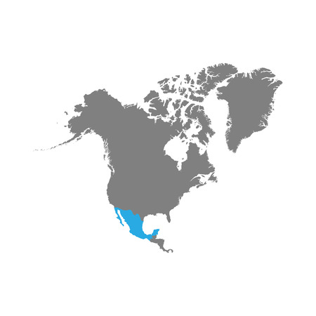 The map of Mexico is highlighted in blue on the North America map. Vector Standard-Bild - 124254663