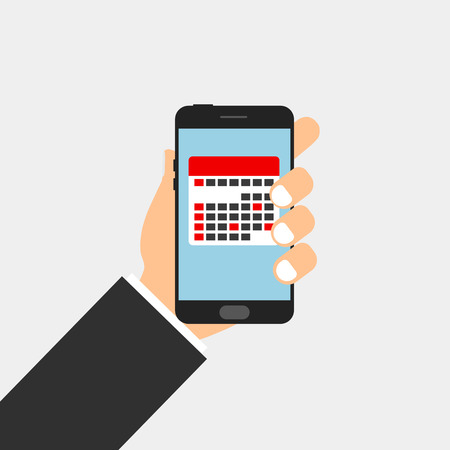 Planner calendar in phone with hand. Vector Illustration