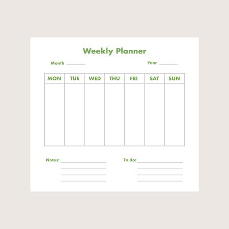 Weekly planner list background. Vector eps10 illustration Ilustração