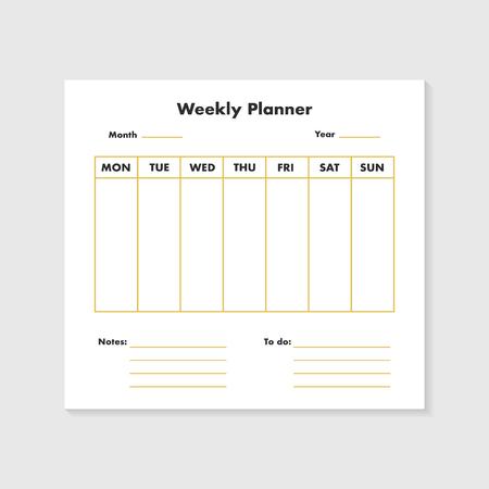 Weekly planner list background. Vector eps10 illustration Illustration
