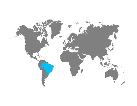 The map of Brazil is highlighted in blue on the world map Standard-Bild - 124254681