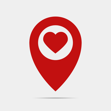 Pointer gps map with heart. Standard-Bild - 123641404
