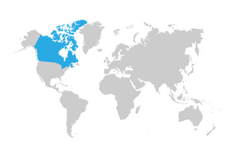 The map of Canada is highlighted in blue on the world map Standard-Bild - 123641408