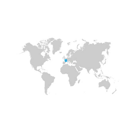 The map of France is highlighted in blue on the world map Standard-Bild - 123641409