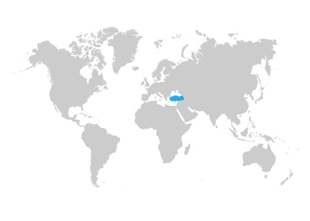 The map of Turkey is highlighted in blue on the world map Standard-Bild - 123641412