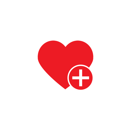 Like love icon with plus add icon