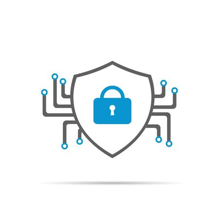 Cyber security icon with shadow. Stock Illustratie