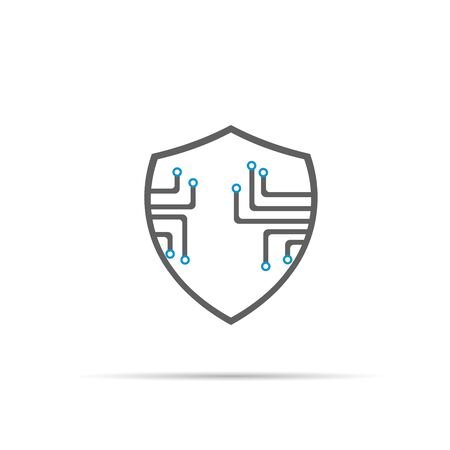 Cyber security icon with shadow. Shield icon Stock Illustratie