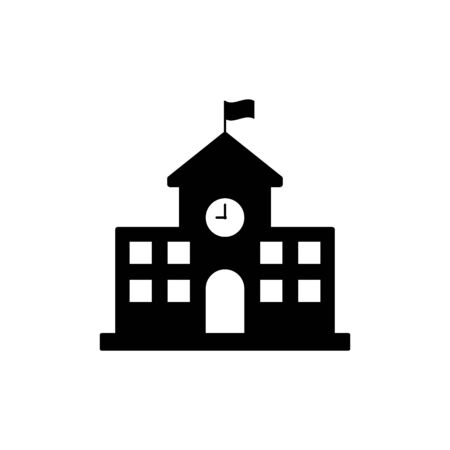 School building icon simple design on white background