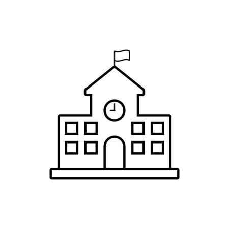 School building icon line style on white background Stock Illustratie