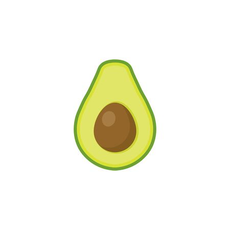 Avocado flat style isolated on white background. Vector